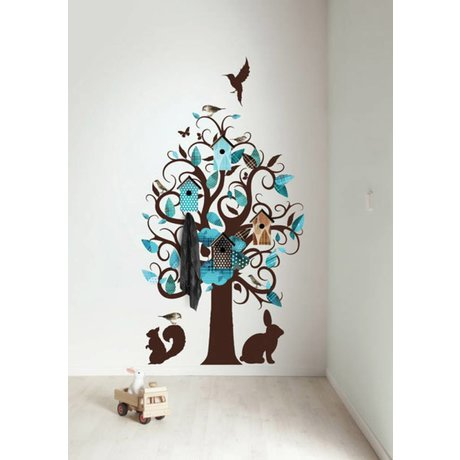 KEK Amsterdam Wall Sticker / Hallstand turquoise 95x150cm Birdhouse Tree wall film