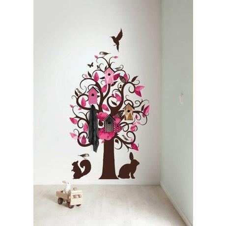 KEK Amsterdam Wall Sticker / coat rack pink 95x150cm Birdhouse Tree wall film