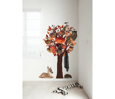 KEK Amsterdam Wall Sticker / Hallstand orange 95x150cm Forest Friends Tree wall film