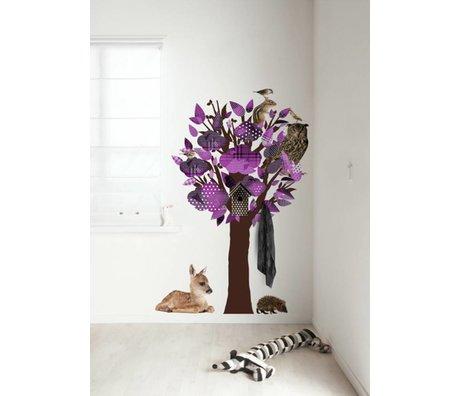 KEK Amsterdam Wall Sticker / Hallstand purple 95x150cm Forest Friends Tree wall film