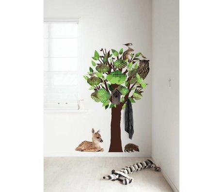 KEK Amsterdam Wall Sticker / coat rack green 95x150cm Forest Friends Tree wall film