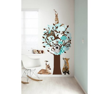 KEK Amsterdam Wall Sticker / Hallstand turquoise 95x150cm Softtone Tree wall film