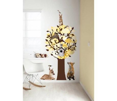 KEK Amsterdam Wall Sticker / Hallstand yellow 95x150cm Softtone Tree wall film