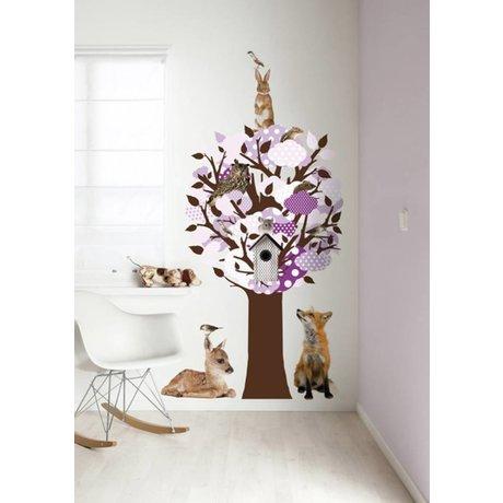 KEK Amsterdam Wall Sticker / Hallstand purple 95x150cm Softtone Tree wall film