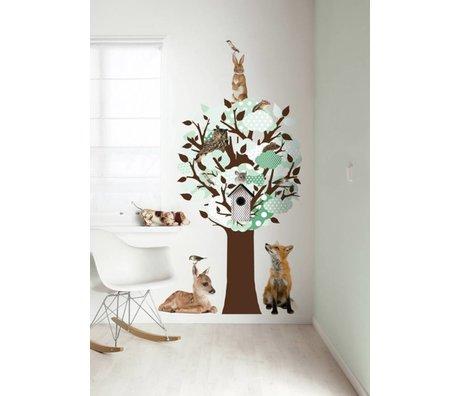 KEK Amsterdam Wall Sticker / coat rack green 95x150cm Softtone Tree wall film