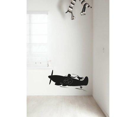 KEK Amsterdam Schoolbordsticker 2 maten zwart Airplane schoolbordfolie