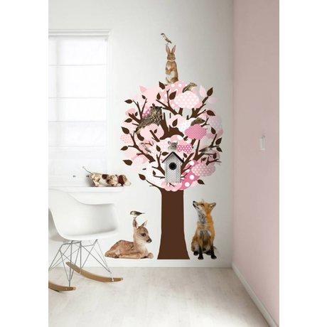 KEK Amsterdam Wall Sticker / coat rack pink 95x150cm Softtone Tree wall film