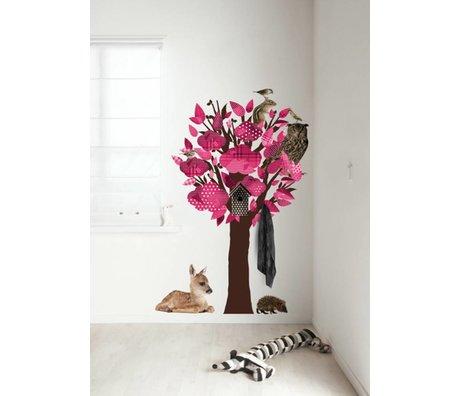 KEK Amsterdam Wall Sticker / coat rack pink 95x150cm Forest Friends Tree wall film