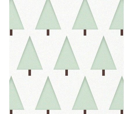 KEK Amsterdam Children's Wallpaper green / white pines Boompjes 146.1 x 280cm 4m