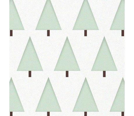 KEK Amsterdam Kinderbehang groen/wit Dennenboompjes 146,1 x 280cm 4m
