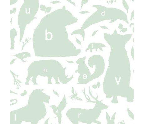KEK Amsterdam Children's Wallpaper green / white Alphabet Bugs 146.1 x 280cm 4m