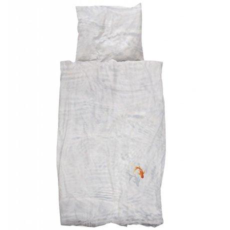 Snurk Beddengoed Kinderbeddengoed Bassie de vis wit oranje katoen 140x200/220cm-60x70cm
