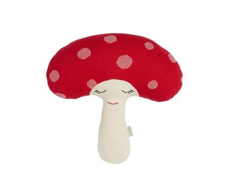 OYOY Hug Mushroom red white cotton 52x14x46cm