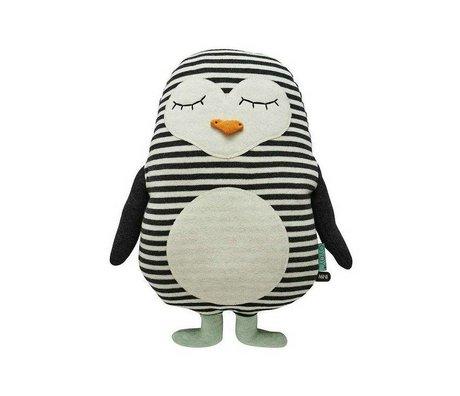 OYOY Kids Kissing Penguin Pingo white cotton 31x41cm