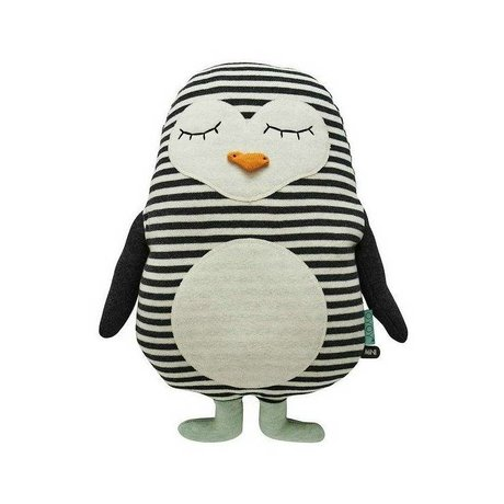 OYOY Kinderkussen pinguin Pingo wit zwart katoen 31x41cm
