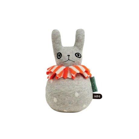 OYOY Roly-Poly Rabbit light gray orange cotton 12x22cm