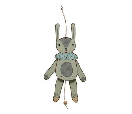 OYOY Juming jack rabbit puppet Ms. multicolour MDF wood 37cm