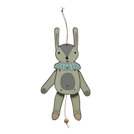 OYOY Trekpop Jumping Jack miss rabbit multicolour MDF hout 37cm