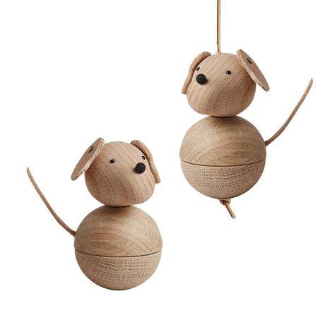 OYOY Kinderdecoratie hond leika naturel bruin hout 5,5x9cm