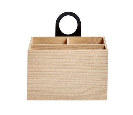 OYOY Kinderopbergbakje Miu naturel bruin zwart hout 8,5x18,9x20cm