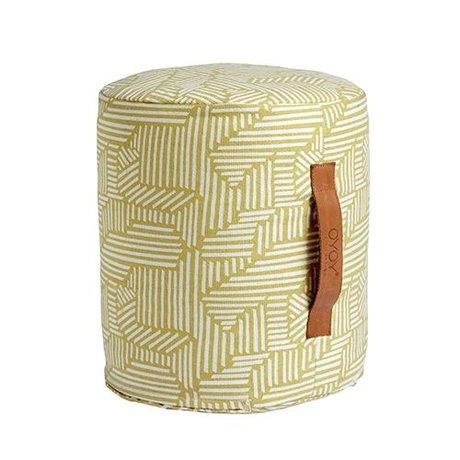 OYOY Kids pouf Paddy mini yellow and white cotton 30x35cm