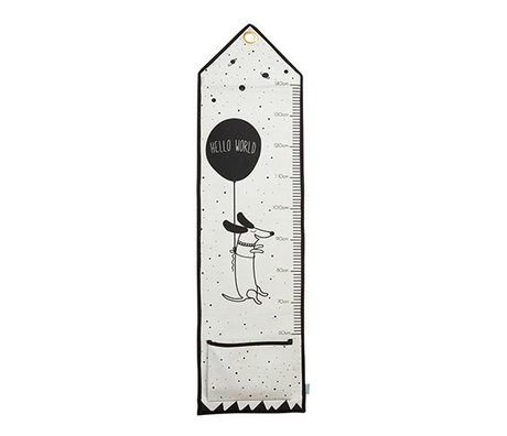 OYOY Kids Ruler hello world black and white cotton 125x30cm
