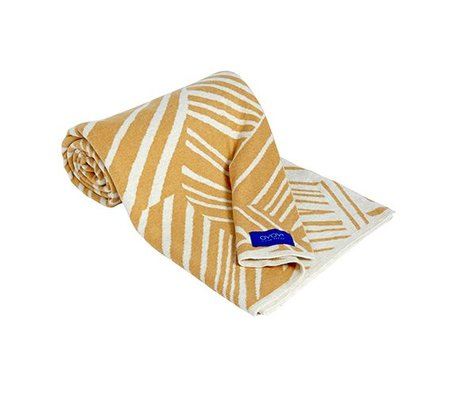 OYOY Kids Plaid Smilla yellow white cotton 120x150cm