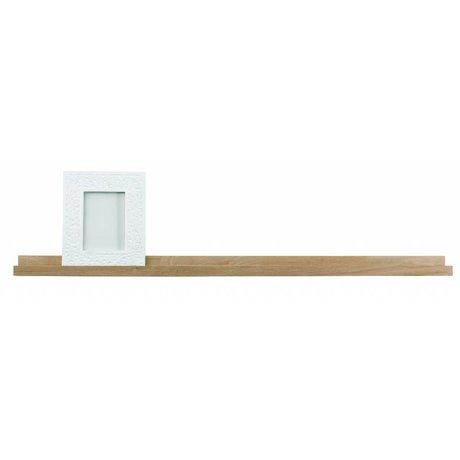 LEF collections Kinderfotolijst plank 'Studio' bruin naturel onbehandeld eiken 120x5x10cm
