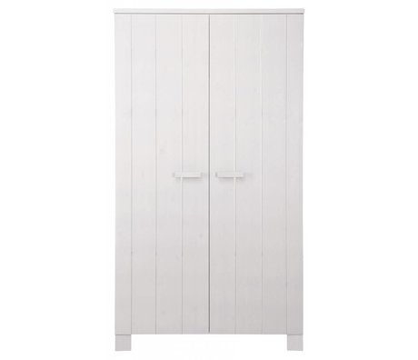 LEF collections Children's Clothing Closet 'Robin' white brushed pine 202X111X55cm