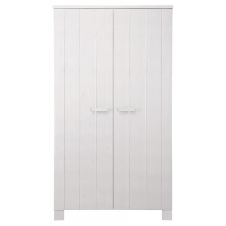 LEF collections Kinderkledingkast 'Robin' wit geborsteld grenen 202X111X55cm