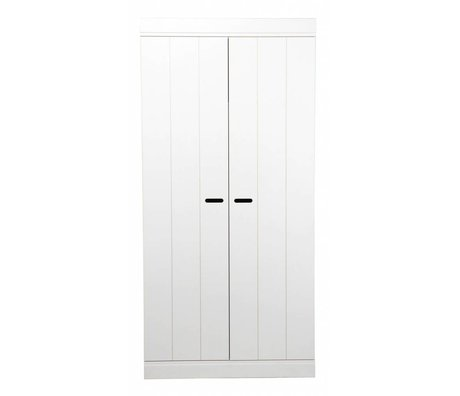 LEF collections Kinderkledingkast 'Connect' 2 deurs strokendeur wit grenen 195X94X53cm