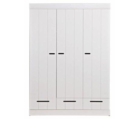 LEF collections Kinderkledingkast 'Connect' 3 deurs strokendeur met lades wit grenen 195X140X53cm