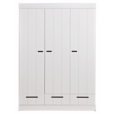 LEF collections Children's Clothing Closet 'Connect' 3 door strip door with drawers white pine 195X140X53cm