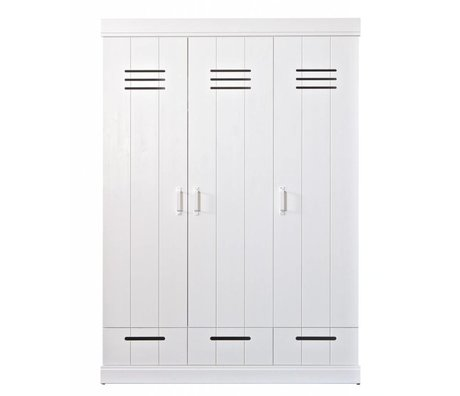 LEF collections Children's Clothing Closet 'Connect' 3 door locker door with drawers white pine 195X140X53cm