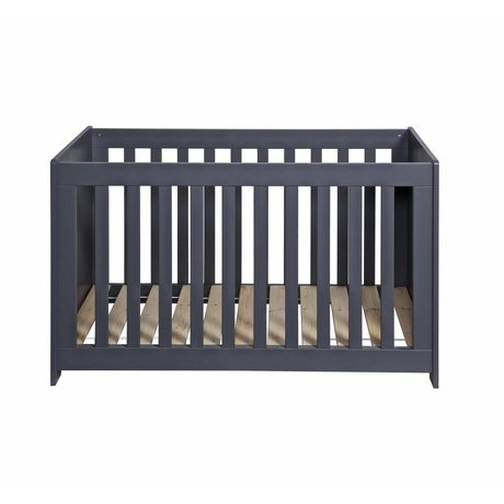 LEF collections Bedstead 'New Life' brushed steel gray pine 66x125x79cm