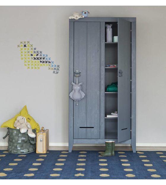 Kinderkast 2 Deurs.Lef Collections Kinderkast Safe 2 Door Pine Brushed Gray 95x44x190cm