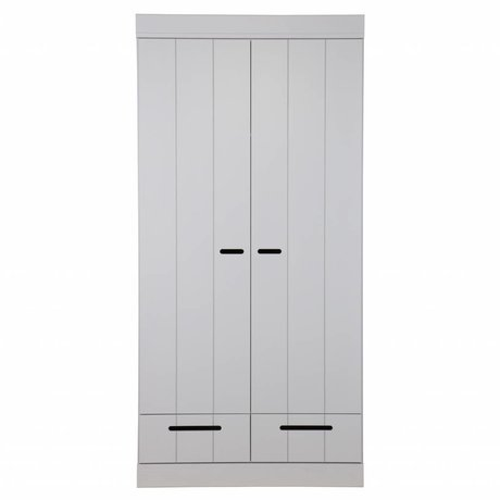 LEF collections Childrens Cabinet Connect 2 door strip door with drawers concrete gray pine 195X94X53cm