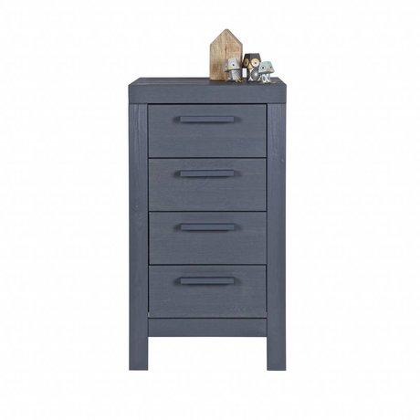 LEF collections Kinderladekast Dennis steel grijs grenen 85x45x39cm