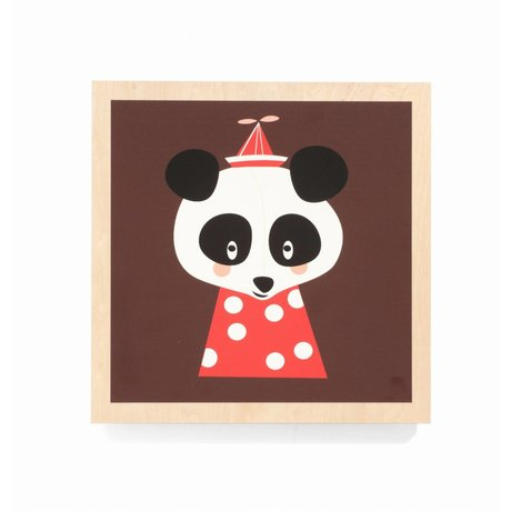Ferm Living kids Kinderschilderij Posey Panda bruin 25x25cm