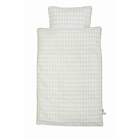 Ferm Living kids Children's Good Harlequin mint green organic cotton 100x140cm-46x40cm