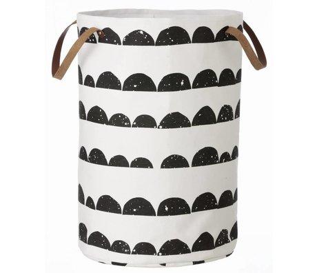 Ferm Living kids Child Pointing Mountain Basket black / white cotton Laundry Basket Halfmoon 40x60cm