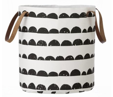 Ferm Living kids Children Basket black / white cotton Basket Halfmoon 35x40cm