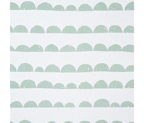 Ferm Living kids Kinderbehang Half Moon mint groen/wit papier 10.05mtrx53cm