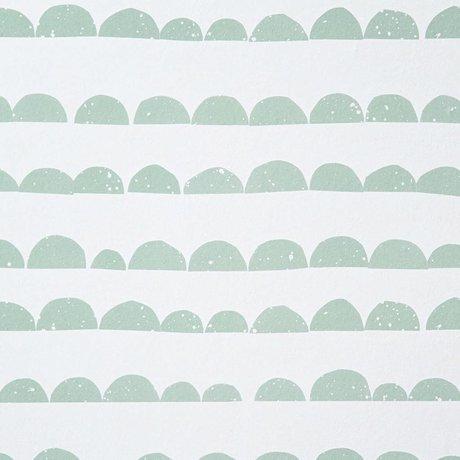 Ferm Living kids Children's wallpaper Half Moon mint green / white paper 10.05mtrx53cm