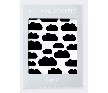 Ferm Living kids Wall Stickers Mini Clouds black vinyl 27 pieces of A4