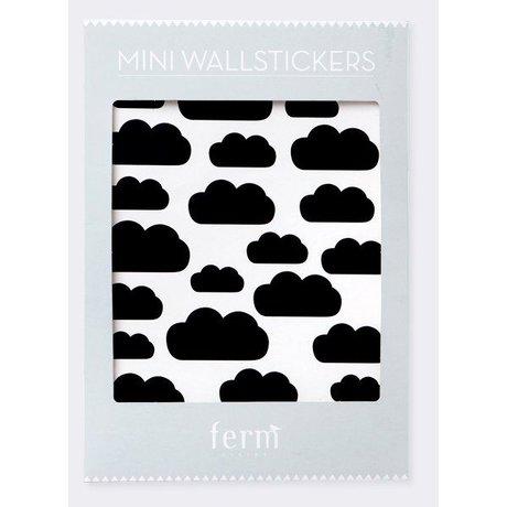Ferm Living kids Muurstickers Mini Clouds zwart vinyl 27 stuks op A4