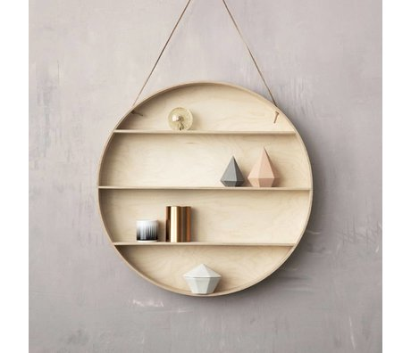 Ferm Living kids Kids Wall Table The Round Dorm Natural plywood Ã~55 cm with leather string