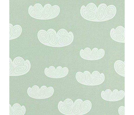 Ferm Living kids Children's Wallpaper Cloud clouds mint green paper 10.05mtrx53cm