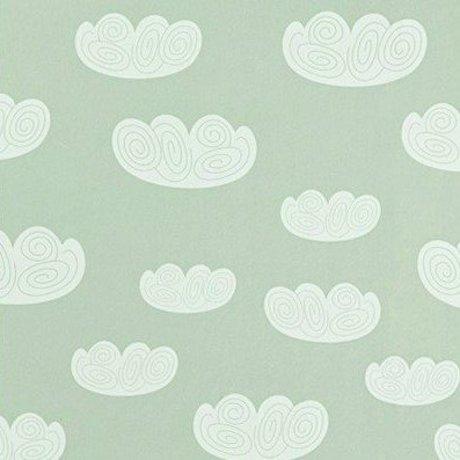 Ferm Living kids Kinderbehang Cloud wolken mintgroen papier 10.05mtrx53cm
