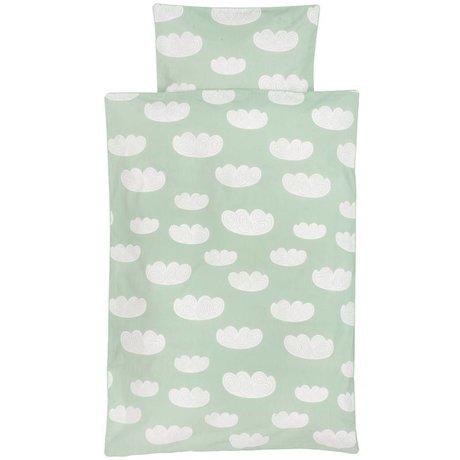 Ferm Living kids Children's Well-Cloud mint green cotton 140x200cm 63x60cm